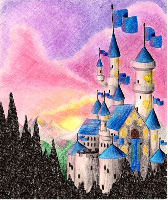 Colored Pencil Drawing - Sweet Heart Castle by Scarlett Royal