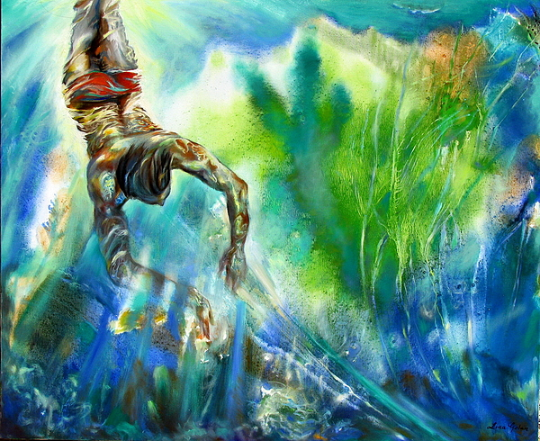 Sea Painting - Swimmer by Lina Golan