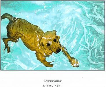 Swimming Dog Painting - Swimming Dog by Wendy Tatter