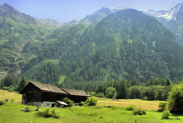 Switzerland Painting - Swiss Mountain Home by Jeffrey Kolker