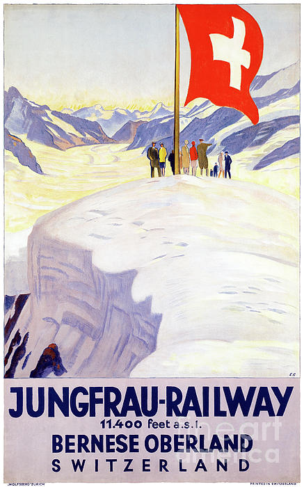 Travel Mixed Media - Switzerland Jungfrau Railway Vintage Poster by Carsten Reisinger