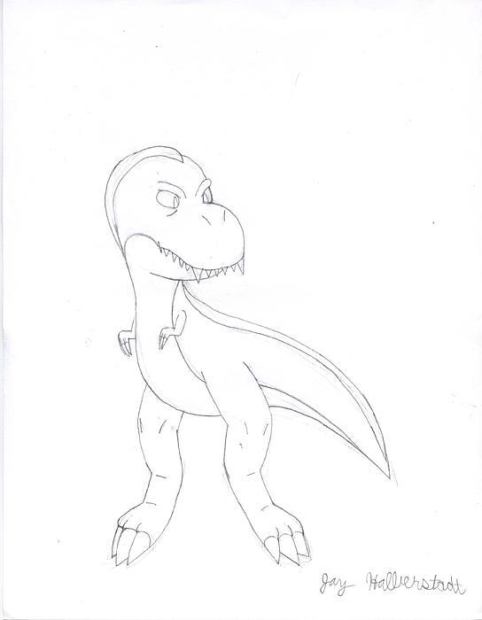 T-rex Drawing - T-rex by Jayson Halberstadt