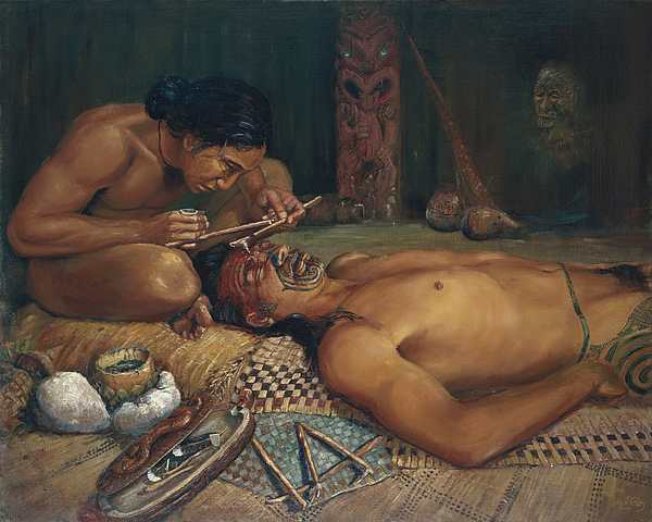 Oil Painting Painting - Ta Moko by Peter Jean Caley