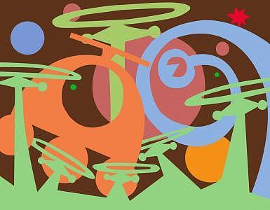 Abstract Painting - Tales Of The Rainforest by Philippe Sokazo
