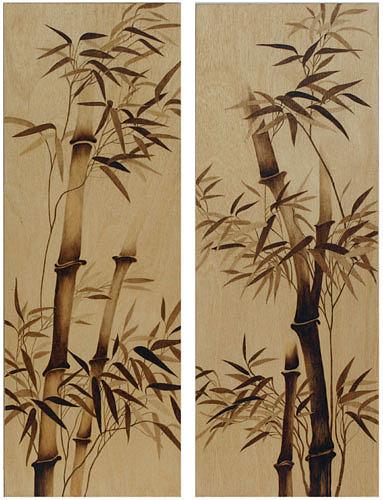 Bamboo Pyrography - Tall Bamboo Abstract by Cate McCauley