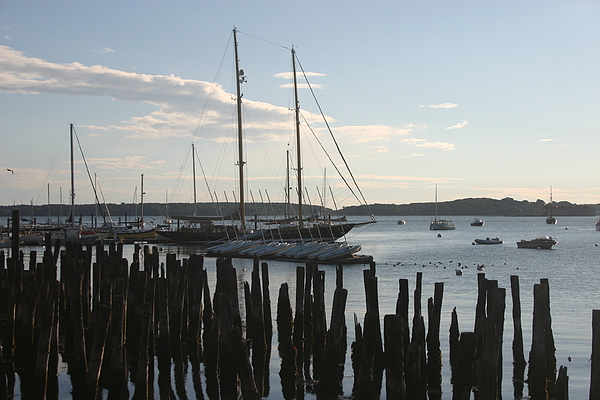 Landscape Photograph - Tall Ship At Dock by Dennis Curry