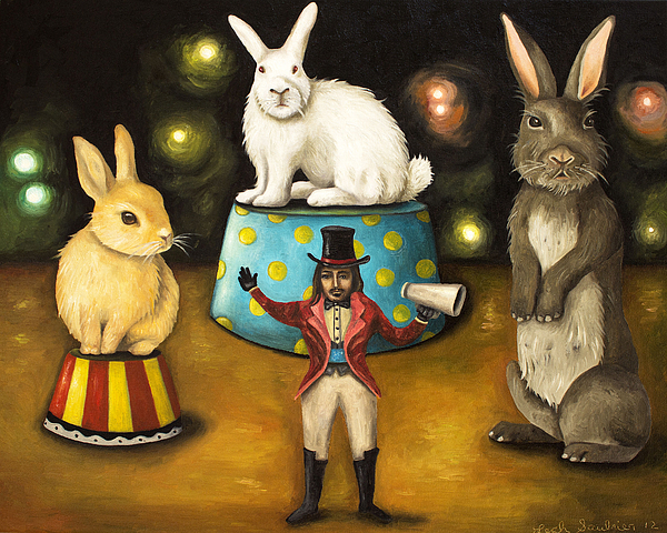 Bunnies Painting - Taming Of The Giant Bunnies by Leah Saulnier The Painting Maniac