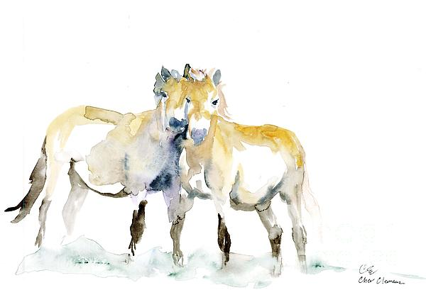 Horses Painting - Tan Horses by Cher Clemans