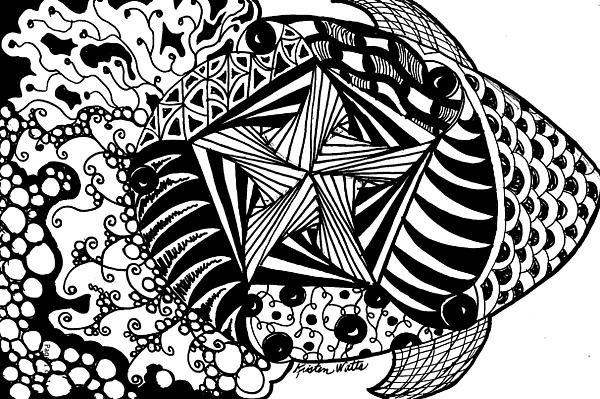 Zentangle Drawing - Tangle Fish by Kristen Watts