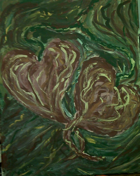 Vivid Colors Painting - Tangled Hearts by Brenda Adams