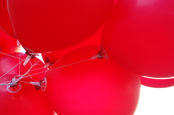 Ballons Photograph - tangled in Red by Kristin Britt