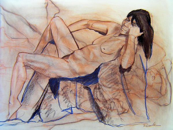 Figure Study Drawing - Tangled Up In Blue by Charles Peck