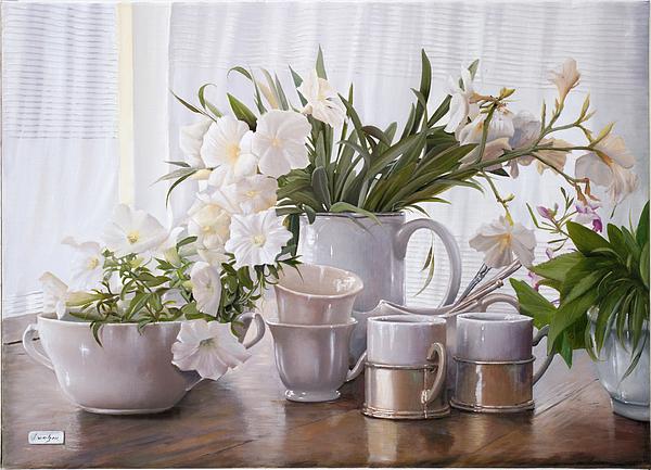 White Painting - Tante Tazze Bianche by Danka Weitzen