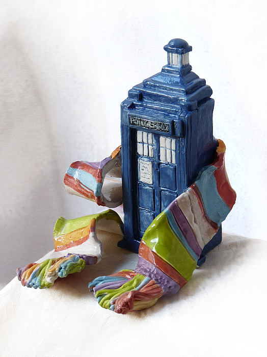 Dr Who Sculpture - Tardis Ll by Rhonda Chase