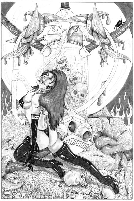 Pencil Drawing - Taste Of Death by Derek Hayes
