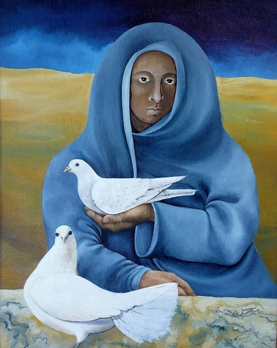 Tauben Painting - Taubenfrau by Amrei Al-Tobaishi-Jarosch