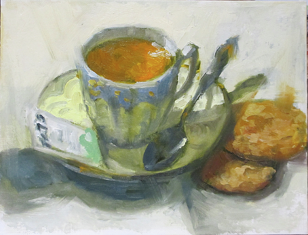 Tea Painting - Tea And Biscuits by Nora Sallows