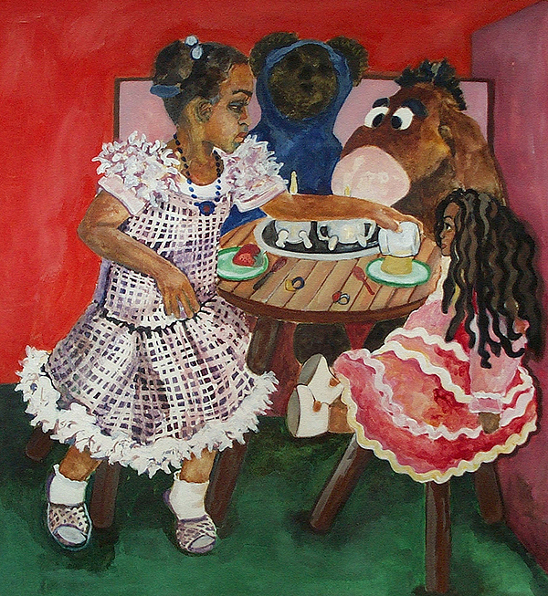 Babies Painting - Tea Time by Amira Najah Whitfield