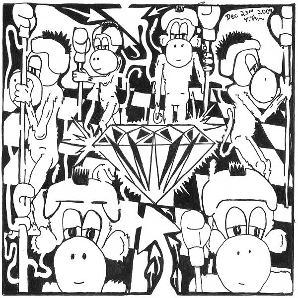 Maze Drawing - Team Of Monkeys Guarding The Crystal Maze by Yonatan Frimer Maze Artist
