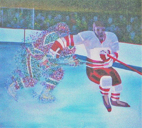 Hockey Painting - Team Plane Vs Team Particals by Ken Yackel