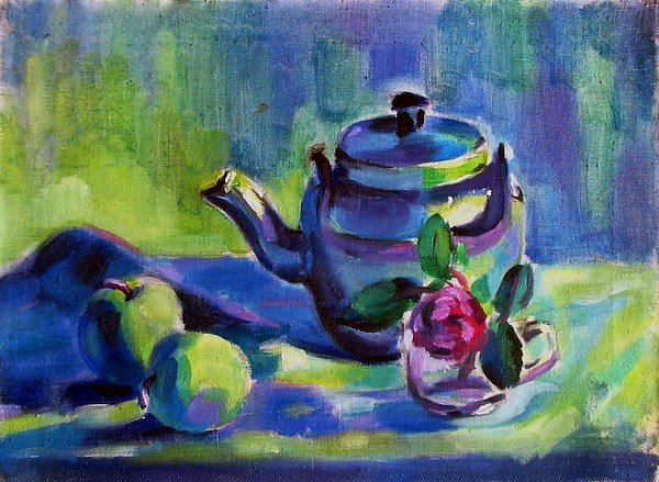 Still Life Painting - Teapot And Ross by Mehrdad Sedghi