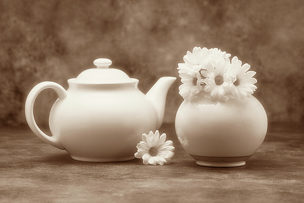 Daisies Photograph - Teapot With Daisies II by Tom Mc Nemar