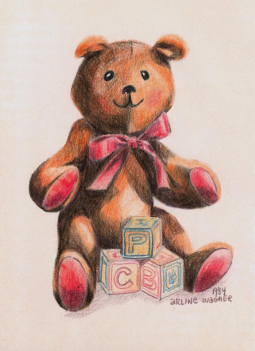 Teddy Bear Drawing - Teddy With Blocks by Arline Wagner