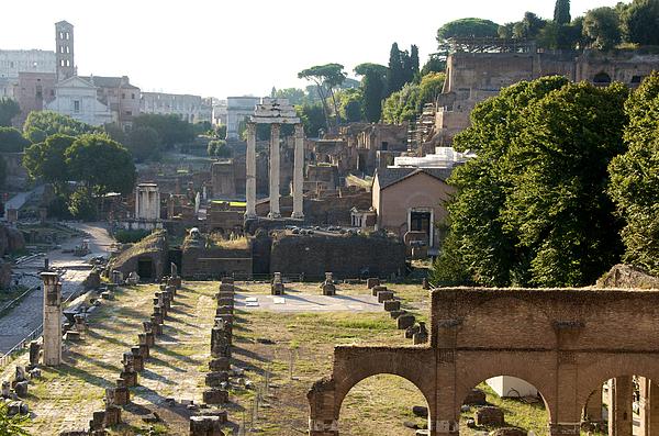 Worth Photograph - Temple Of Vesta. Arch Of Titus. Temple Of Castor And Pollux. Forum Romanum. Roman Forum. Rome by Bernard Jaubert