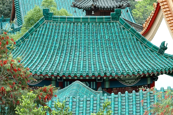 Chinese Photograph - Temple Roofs by Mary Lane