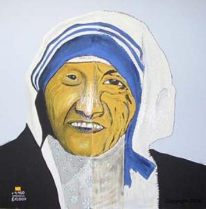 Mother Theresa Painting - Ten Thousand Pound by Sardine and Tobleroni The Monkey in the Box