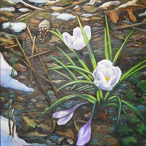 Flower Painting - Tenacity by Denise Ivey Telep