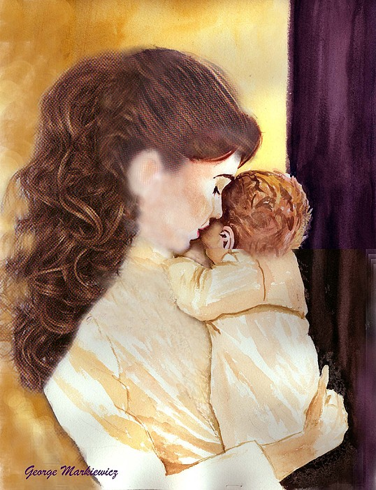 Mother And Baby Print - Tenderness by George Markiewicz