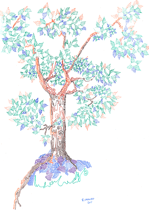 Hand Drawn Drawing - Tesselated Tree by Regina Valluzzi