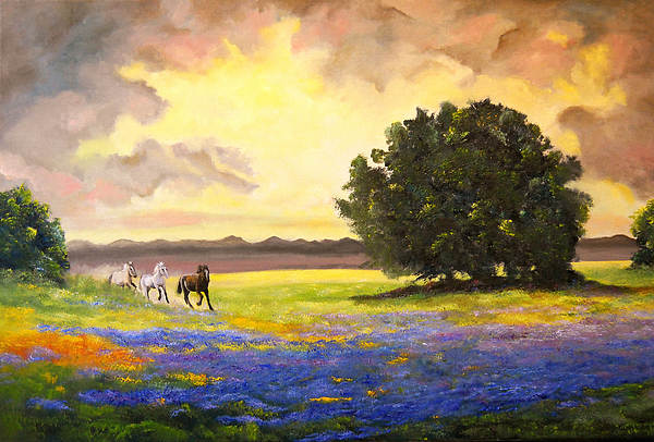 Landscape Painting - Texas Horses And Bluebonnets by Connie Tom