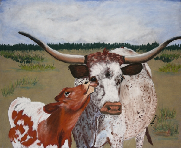 Cows Pastel - Texas Love by Michele Turney