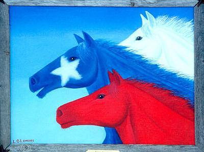 Texas Flag Painting - Texas Stampede Original Sold by Larry G Lemons