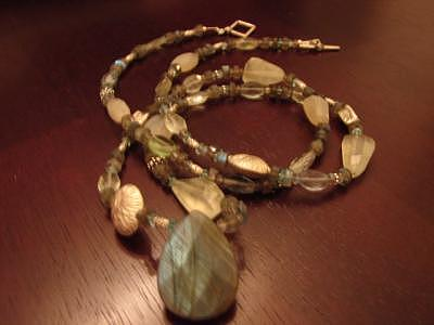 Faceted Jewelry - Thai The Grey.teal Necklace by MIchelle LaCoille