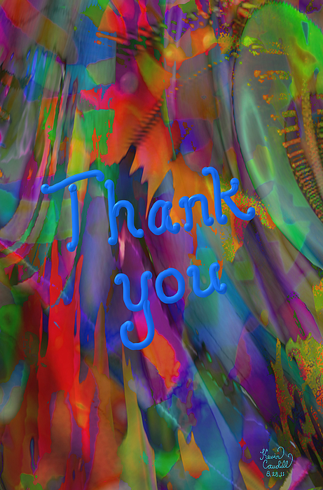 Lettering Digital Art - Thank You by Kevin Caudill
