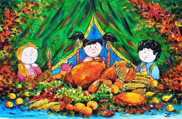 Thanksgiving Day Painting - Thanksgiving Day by Zaira Dzhaubaeva