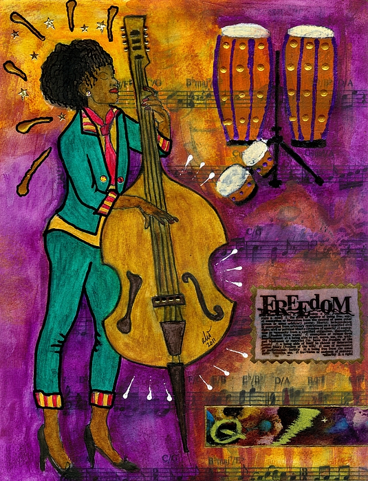 Greeting Cards Mixed Media - That Sistah On The Bass by Angela L Walker