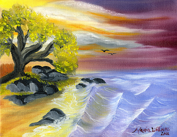 Ocean Painting - That Yellow Tree By The Sea by Maria Williams