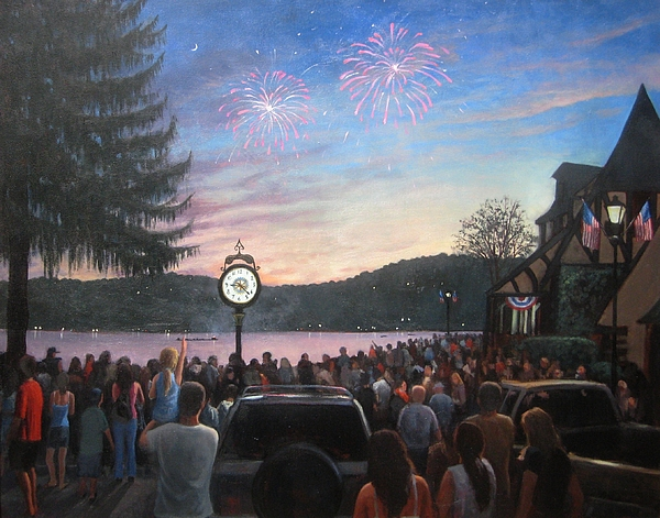 Lake Mohawk Painting - the 4th of July on Lake Mohawk by Tim Maher