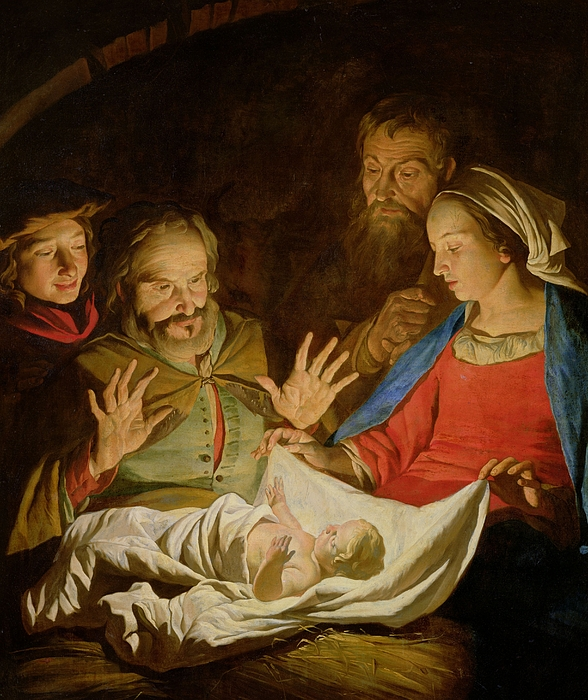 Christ Painting - The Adoration Of The Shepherds by Matthias Stomer