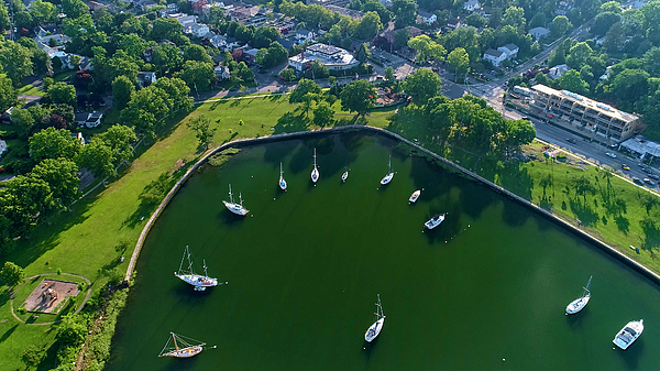 Aerial Photograph - The Aerial View Of The Marina Of Mamaroneck by Alex Potemkin