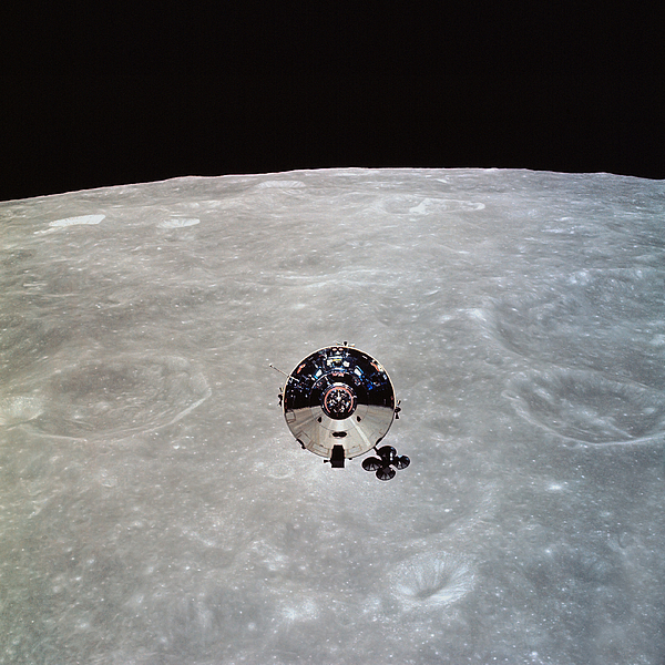 Crater Photograph - The Apollo 10 Command And Service by Stocktrek Images