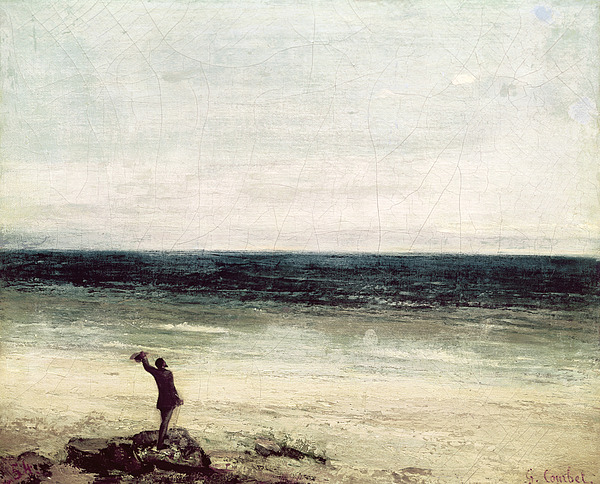 The Painting - The Artist On The Seashore At Palavas by Gustave Courbet