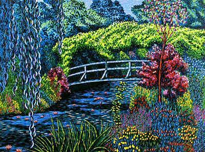 Pond Painting - The Artiste Bridge At Giverny by Max R Scharf