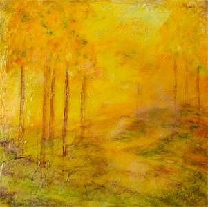 Landscape Painting - The Aspens Are Gold by Denise Williams