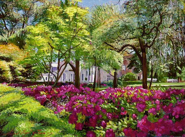 Impressionist Painting - The Azaleas Of Savannah by David Lloyd Glover