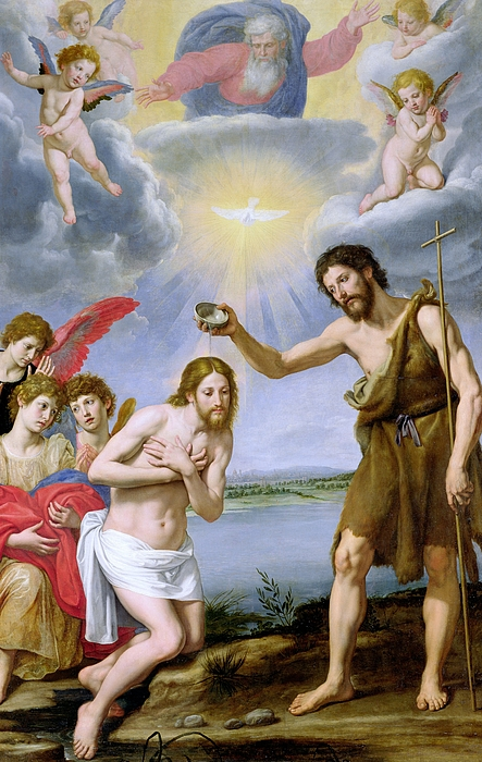 The Baptism Of Christ (oil On Canvas) Holy Ghost; Dove; John The Baptist; Saint; St.; Baptising; Bapteme Du Christ; Jesus; River Jordan Painting - The Baptism Of Christ by Ottavio Vannini